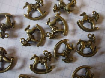 Bronze ROCKING HORSE Charms x 1